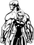 Superhero Couple Back to Back No Capes Line Art. Superhero couple, standing back to back, ready for battle royalty free illustration