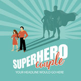 Superhero couple burst background Stock Images