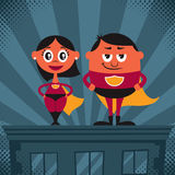 Superhero Couple Cartoon Royalty Free Stock Photography
