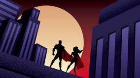 Superhero Couple City Night Animation stock video