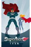 Superhero Couple: Male and female superheroes on a skyscraper ro Stock Images