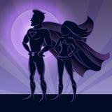 Superhero Couple Silhouettes Royalty Free Stock Photography