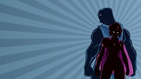 Superhero Couple Ray Light Silhouette stock photos
