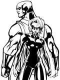 Superhero Couple Back to Back Line Art Stock Image