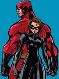 Superhero Couple Back to Back No Capes. Superhero couple, standing back to back, ready for battle royalty free illustration