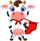 Superhero cow cartoon posing Royalty Free Stock Photos