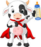 Superhero cow cartoon posing Stock Photos