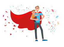 Superhero dad cartoon Stock Image