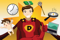 Superhero dad concept. A vector illustration of superhero dad concept Stock Image