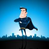 Superhero de bleu de dessin animé Photos stock