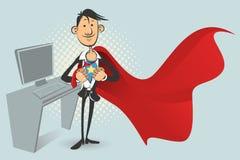Superhero de bureau Image libre de droits