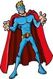 Superhero de dessin animé avec un cap rouge Image stock