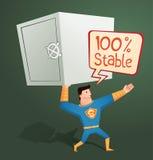 Superhero die een stortingsdoos bewaken Stock Afbeeldingen