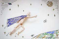 Superhero die in ruimte over de wereld vliegen Stock Afbeelding