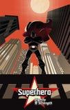 Superhero die zich op het dak bevindt Royalty-vrije Stock Foto's