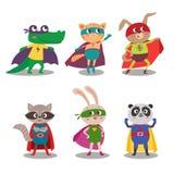 Superhero dierlijke jonge geitjes De vectorillustratie van het beeldverhaal royalty-vrije stock fotografie