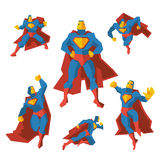Superhero in different actions. Vector set Royalty Free Stock Photo