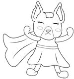 Superhero dog coloring page Royalty Free Stock Image
