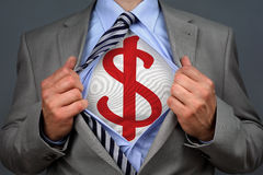 Superhero dollar man Royalty Free Stock Image