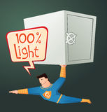 Superhero draagt een stortingsdoos Royalty-vrije Stock Afbeeldingen