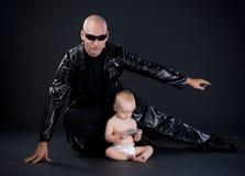 Superhero en baby Royalty-vrije Stock Foto