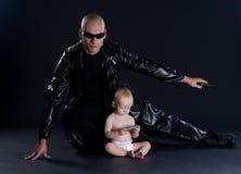 Superhero en baby Royalty-vrije Stock Fotografie
