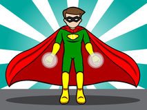 Superhero Energy Projection. A cartoon illustration of a Superhero preparing his energy projection Royalty Free Stock Images