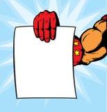superhero för reklambladhandholding Royaltyfria Bilder