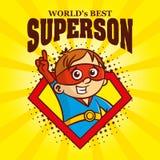 Superhero för tecken för Superson logotecknad film stock illustrationer