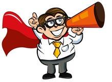 superhero för tecknad filmnerdkontor Fotografering för Bildbyråer