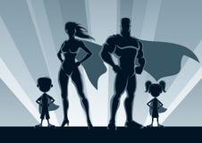 Superhero Family Silhouettes Stock Photos