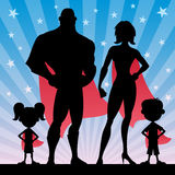 Superhero Family. Square banner of superhero family. No transparency used. Basic (linear) gradients stock illustration