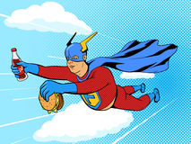 Superhero fat man and burger comic book vector Stock Image