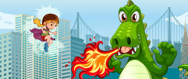 Superhero fighting green dragon in city Stock Image