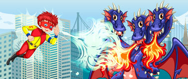 Superhero fighting three headed dragon in city Royalty Free Stock Photography