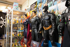 Superhero figures in a comicbook store. Stock Photography