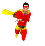 Superhero In Flight. A 3d rendered superhero in tights and a cape flies towards the camera Royalty Free Stock Image