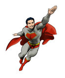 Superhero flying into action Stock Photography
