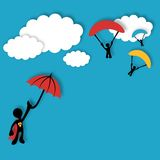 Superhero flying in the clouds Stock Photos