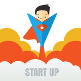 Superhero flying. Creative business start up concept . Vector ca Royalty Free Stock Photo