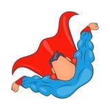 Superhero flying figure icon, cartoon style. Superhero flying figure icon in cartoon style isolated on white background Stock Images