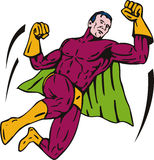 Superhero flying punch royalty free illustration