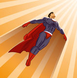 Superhero flying up. On a sunlight Stock Photo