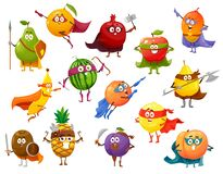 Free Superhero Fruit Cartoon Characters Set, Super Food Royalty Free Stock Images - 214592899