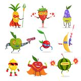Superhero Fruits In Masks And Capes Set Of Cute Childish Cartoon Humanized Characters In Costumes in different poses. Superhero Fruits In Masks And Capes Set Of royalty free illustration