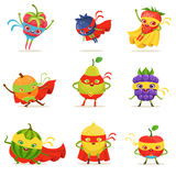 Superhero Fruits In Masks And Capes Set Of Cute Childish Cartoon Humanized Characters In Costumes. Healthy Fresh Food With Superpowers Vector Illustrations In royalty free illustration