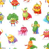 Superhero fruits vector fruity cartoon character of super hero expression vegetables with funny banana carrot or pepper. In mask illustration fruitful royalty free illustration