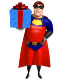 Superhero with Giftbox. 3d rendered illustration of Superhero with Giftbox Stock Image