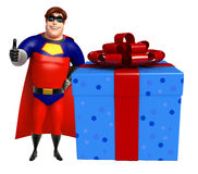 Superhero with Giftbox. 3d rendered illustration of Superhero with Giftbox Royalty Free Stock Image