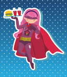 Superhero girl cartoon. Royalty Free Stock Photography